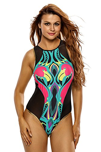 LittleLittleSky Womens Cartoon Flamingo Print Zipped Black Mesh Monokini One Piece Swimsuit Swimwear ((US 16-18)XL, As Shown)