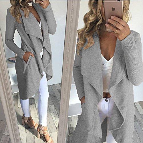 a Larga Coat Outwear Elegante Chaqueta Cintura Gris Minetom Hem Mujer Asimétrico La Abrigo Otoño Invierno la Blazer Manga Atada Cardigans wUPU0qT
