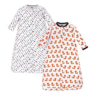 Hudson Baby Unisex Baby Cotton Long-Sleeve Wearable Sleeping Bag, Sack, Blanket, Foxes, 3-9 Months