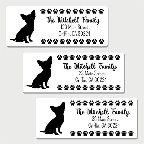 60 Personalized Chihuahua Themed Return Address Labels - Dog Themed Address Labels (AL25)