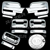 Razer Auto Triple Chrome Plated Mirror Cover (Does Not Fit on Towing Mirror), 2 Door Handle Cover Without Keypad And with Passenger Keyhole, Tailgate Handle, Gas Door Cover for 09-14 Ford F150
