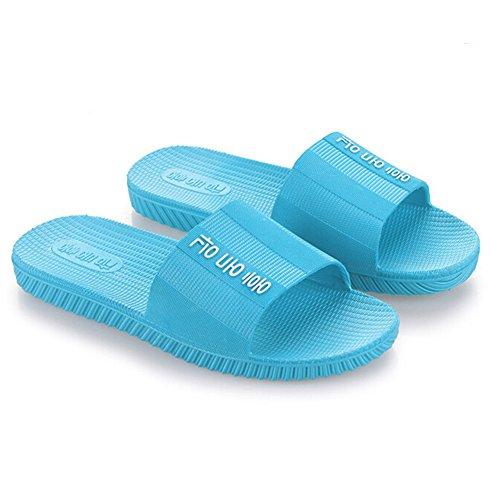 Angelliu Femmes Couleur Pure En Plastique Plage Salle De Bain Pantoufles Été Sandales Bleu