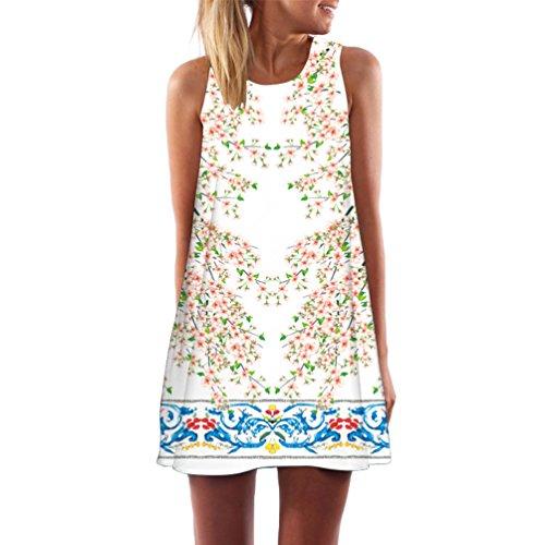Vintage sans Femmes Robe 016 Peu Manches Mini WanYang Un Lache de Plage Transparent Peach Robe D't Fleur Motif Totem Blossom Blanc q05OxwSd