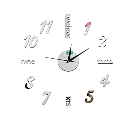 IBalody Acrylic Frameless Large 3D DIY Wall Clock Mute Mirror Effect Stickers Home Office School Decoration