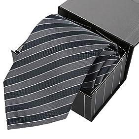 KissTies Tall Men Navy Extra Long Tie Blue Striped Necktie+Magnetic Box(63'' XL)