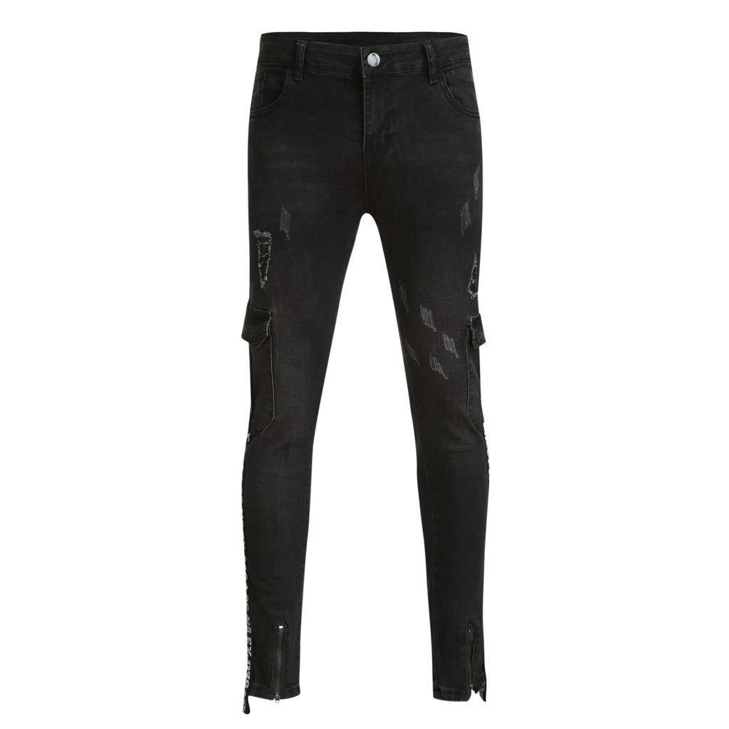 Sunyastor Men's Stretchy Ripped Skinny Biker Jeans Slim Fit Denim Pants Destroyed Hole Distressed Jeans with Pocket Black by Sunyastor men pants (Image #5)