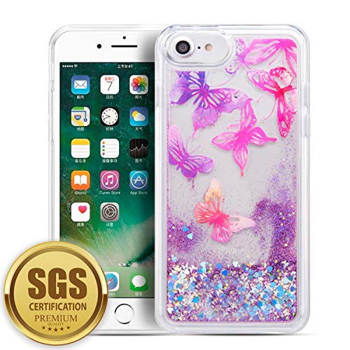 SumacLife Protective, Sparkling Waterfall Skin for Apple iPhone 7 or iPhone 8 - Purple Butterfly
