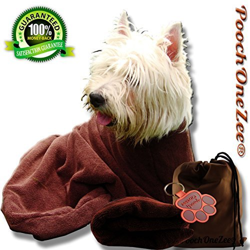 PoochOneZee Dry Fast Dog Bag - Water, Mud and Dirt Super Absorbent Microfiber Solution Towel Thick Neck Hook and Loop Strap Small by PoochOneZee
