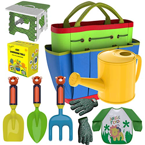 Kids Gardening Tools Outdoor Toys Set – Garden Gloves – Smock Apron – Foldable Work Bench Stool – Backyard Outside Toys Metal Shovel Rake Trowel – Plastic Handle- Watering Can Jug- Carrying Tote Bag For Sale