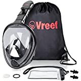 Full Face Snorkel Mask New Model with 180° Panoramic Viewing, Non-Toxic Silicone Materials, Easy-breath Longer Tube, Improved Anti -Fog & Anti-Leak Technology + FREE BONUSES. By Vreef