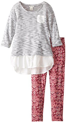 [One Step Up Big Girls' Sweater Knit Top with Leggings 2-Piece Set, Black Cranberry, Medium/10-12] (Knit Two Piece Set)