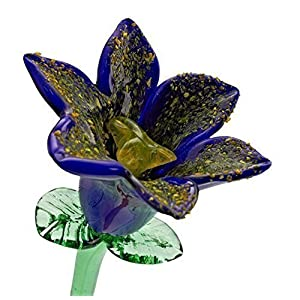Blue Glass Lily Flower, One-of-a-kind. Life Size 20″ long. FREE SHIPPING to the lower 48 when you spend over $35.00