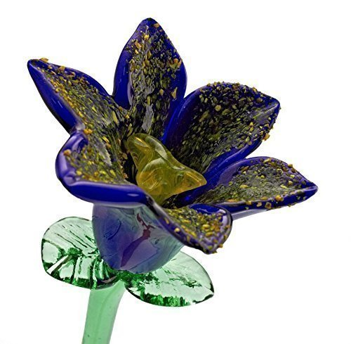 Blue Glass Lily Flower, One-of-a-kind. Life Size 20