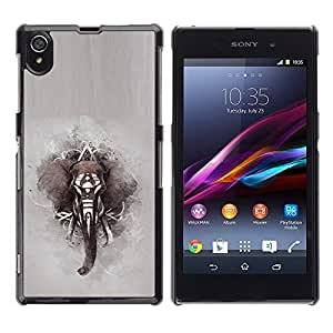 LOVE FOR Sony Xperia Z1 L39 Elephant African Indian Painting Grey Personalized Design Custom DIY Case Cover