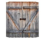 DUNLINCountry Decor Old Wooden Garage Door American Country Style Decorations for Bathroom Photography Print Vintage Rustic Decor Home Antiqued Look Polyester Fabric Shower Curtain (180X180cm)