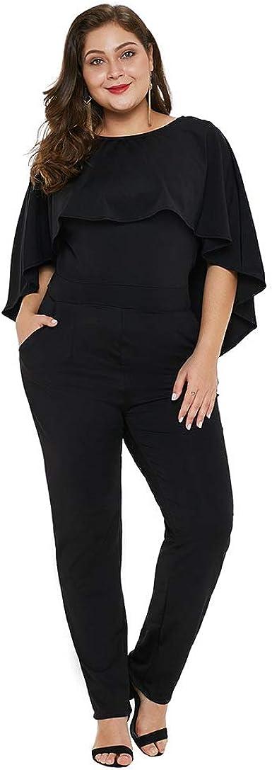 Plus Size Women V-Neck Party Jumpsuit Ladies Ruffle Sleeveless Playsuit Sz 18-30