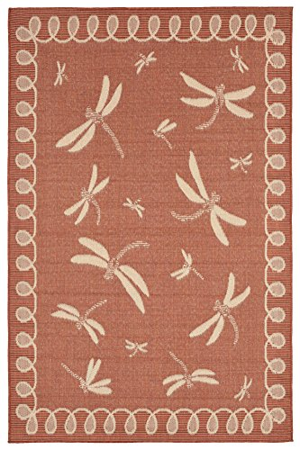 AREA RUGS - ''DRAGONFLY DANCE'' RUG - TERRACOTTA - 39'' x 59'' - INDOOR OUTDOOR DRAGONFLY RUG by KensingtonRow Home Collection