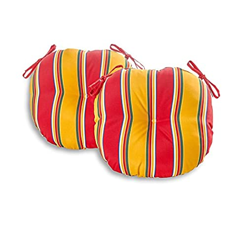 Greendale Home Fashions 18 in. Round Outdoor Bistro Chair Cushion (set of 2), Carnival Stripe (Round Chair Pads With Ties)