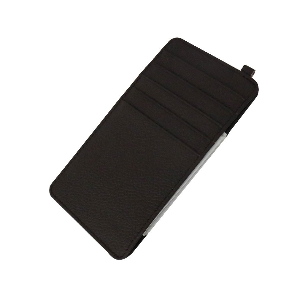 PAKULOVE Mens Brown Leather Slim Super Thin Card Holder With ID Card Window