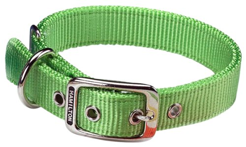 Hamilton Thick Nylon Deluxe Dog Collar, 1-Inch by 24-Inch Double, Lime Green
