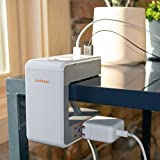 Echogear Desk Clamp Power Station with 1080J of Surge Protection - U Shaped Power Strip with 6 AC Outlets, 2 Standard USBs, 1 USB-C Port - Includes Long 6ft Cord & Switch for Manual Power Control