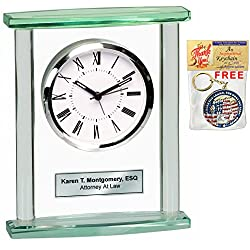 Table Desk Shelf Glass Pillar Clock with Silver Engraving Plate. Great Personalized Retirement Gift, Employee Appreciation Award, Service and Corporate Recognition Award