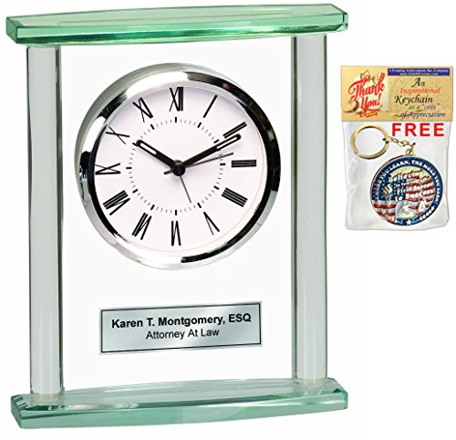 - Table Desk Shelf Glass Pillar Clock with Silver Engraving Plate. Great Personalized Retirement Gift, Employee Appreciation Award, Service and Corporate Recognition Award