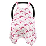 Multi-Use Breast Feeding, Nursing Cover. Cozy Baby Car Seat Covers For Longer Sleep. Muslin Cotton Baby Car Seat Canopies To Protect From Sun, Bugs, Dust & Allergens. Perfect For Summer For Girl.