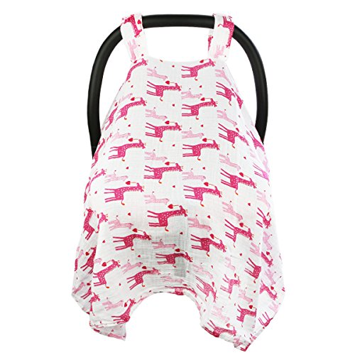 Baby Car Seat Covers To Protect From Sun, Bugs, Dust & Allergens. Cozy Baby Car Seat Covers For Longer Sleep. Muslin Cotton Baby Car Seat Canopies For Summer For Girl. Giraffe Car Seat Cover