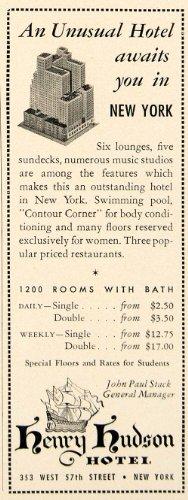 1942 Ad Henry Hudson Hotel 353 West 57th Street John Paul Stack Resort New York - Original Print Ad