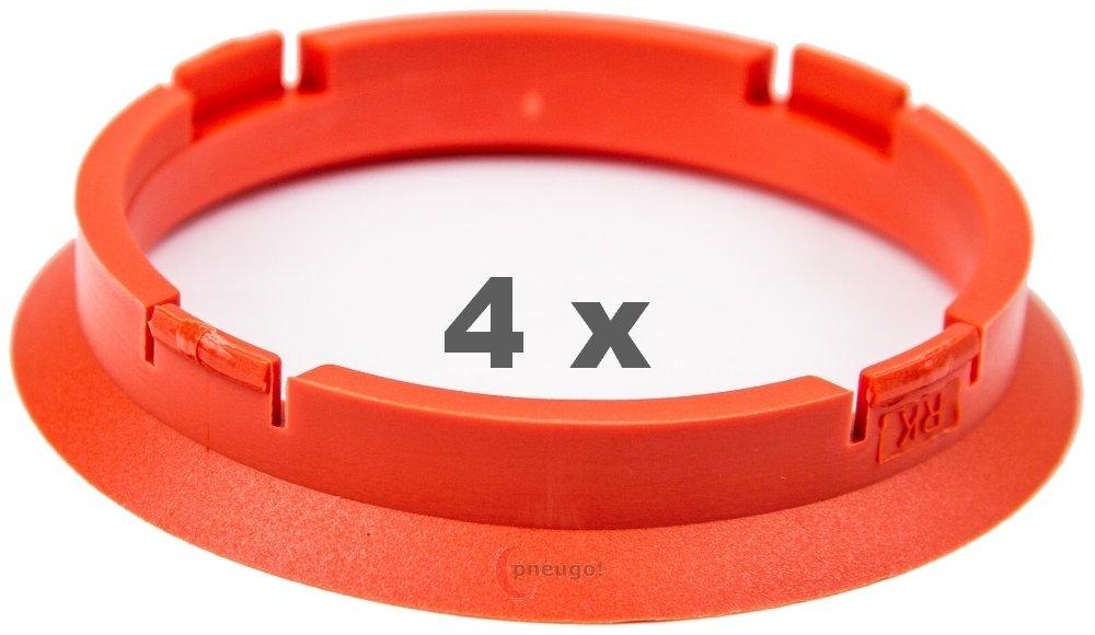 4 X Anello Di Centraggio 74.1 mm a 66.6 mm Arancione Pneugo