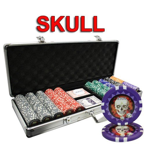 MRC 500pcs Skull Design Poker Chips Set with Aluminum Case by Mrc Poker