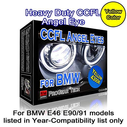 Heavy Duty 131 mm + 146 mm CCFL Angel Eye Halo Ring DRL E46 E90 E91 with Non-Projector headlight (4300K OEM Yellow)