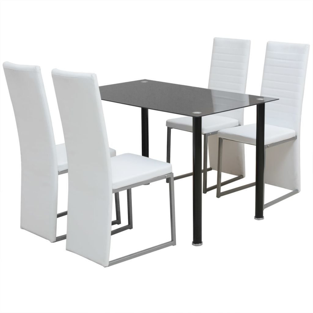 BestHomeFuniture 5 Piece Dining Room Set, 4 Artificial Leather Chairs and 1 Glass top Dining Table, Black - White