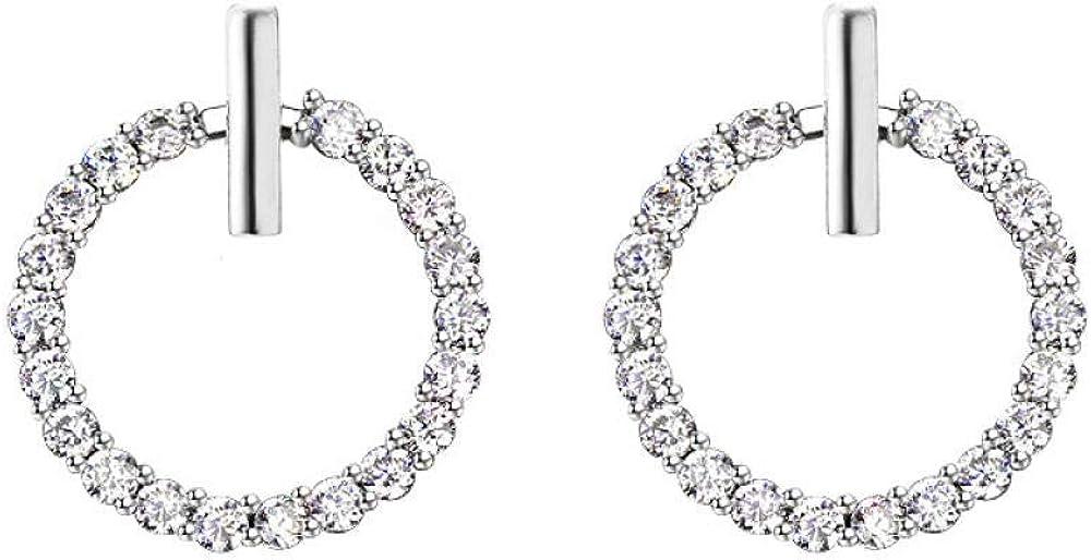 FEISHUO Pendientes de botón redondos geométricos del cristal de roca libre de modo de transporte para bellas joyas de las mujeres