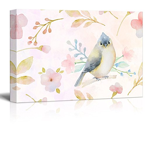 Watercolor Style Painting with Bird and Floral Patterns
