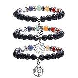 JOVIVI 7 Chakras Gemstone & Lava Stones Yoga Meditation Healing Balancing Round Stone Beads Stretch Bracelet with Tree of Life/Lotus/OM Symbol Charm