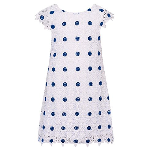 cb95febaa65 Amazon.com  Rare Editions Little Girls White Blue Floral Embroidered ...
