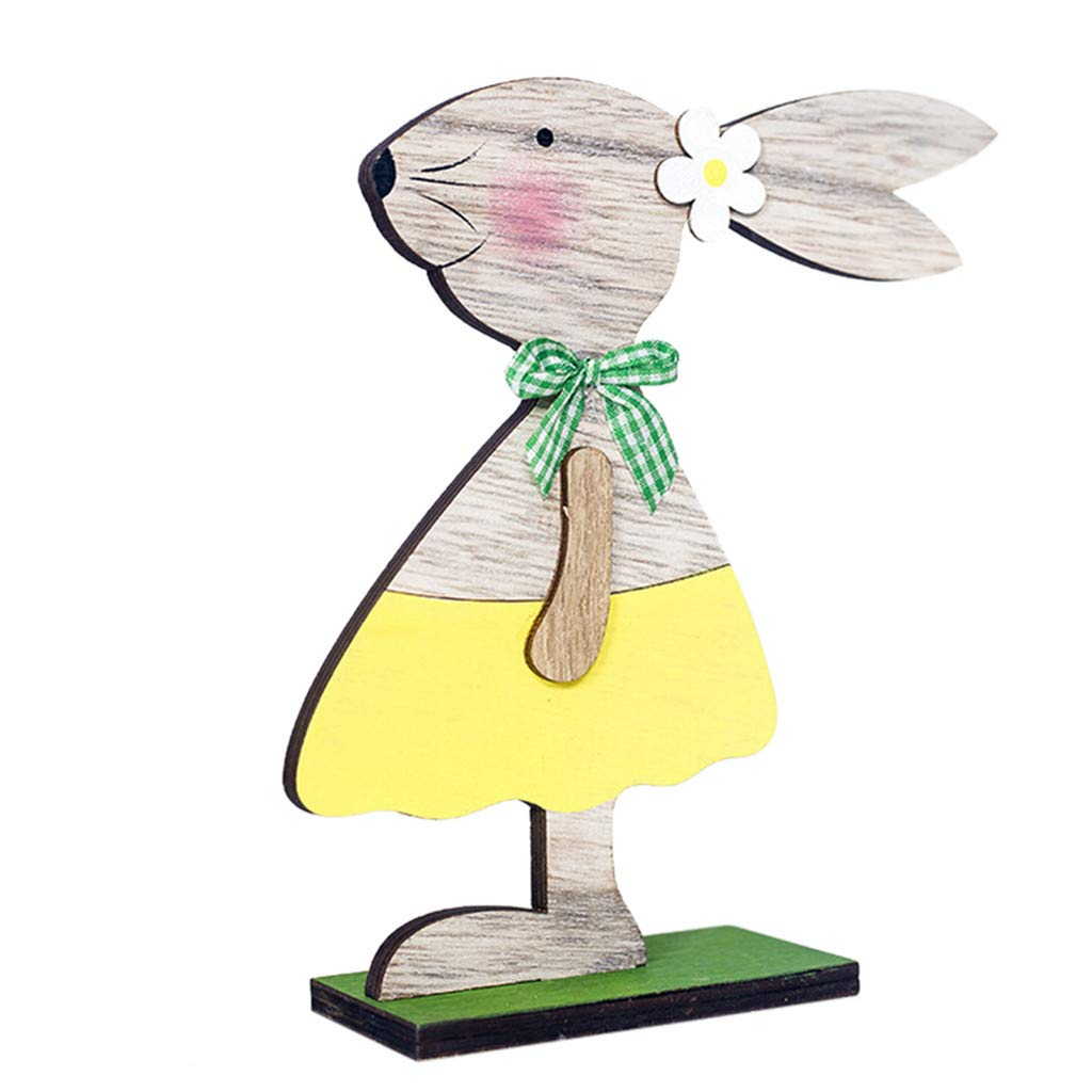 SMALLE ◕‿◕ Easter Decorations for The Home, Easter Decorations Wooden Rabbit Ornaments Home Table Top Decor Craft Gifts