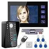 Touch Key 7' Lcd RFID Password Video Door Phone Intercom System Kit+ Electric Strike Lock+ Wireless Remote Control unlock