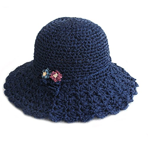 ZORJAR Handmade Chiffon Chic Fashion Knitted Crochet Bucket Hats (Navy)