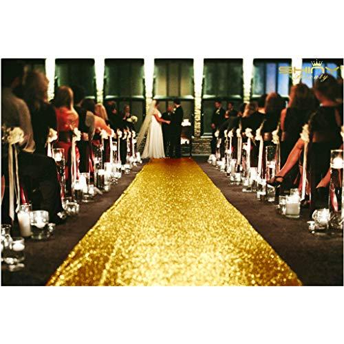 ShinyBeauty 4FTx30FT Aisle Runners for Weddings Sparkling Gold Aisle Runner Decoration of Beach/Church Wedding ()