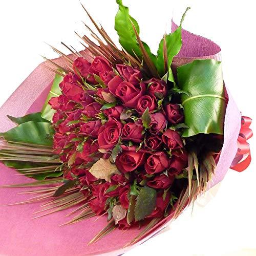 ほんまもん屋 真紅のバラの花束(60本) B00FJ0F39Y