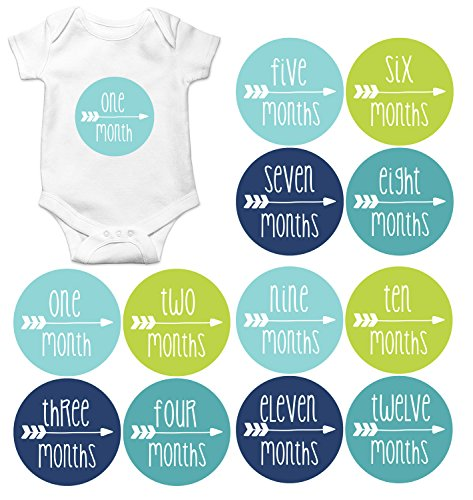 Gift Set of 12 Round Keepsake Photography Monthly Baby Stickers with Single Arrow in Aqua, Green, Navy and Teal MOSB7013
