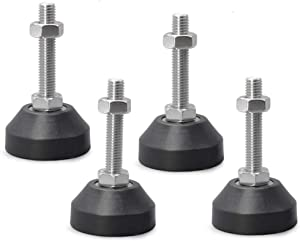 M12 Thread Furniture Levelers, 4Pcs Shockproof Rubber Base 2