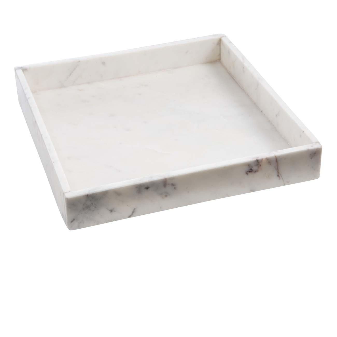 Madam Stoltz Marmortablett – Tablett aus weissem Marmor – Marble Tray – Dekotablett - Serviertablett - quadratisch – Marmoroptik - weiß - 30x30x4cm weiss