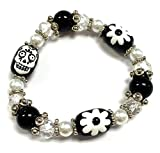 Linpeng BR-2535G Fiona 3D Hand Painted Day of Dead Sugar Skull Glass Beads Stretch Bracelet