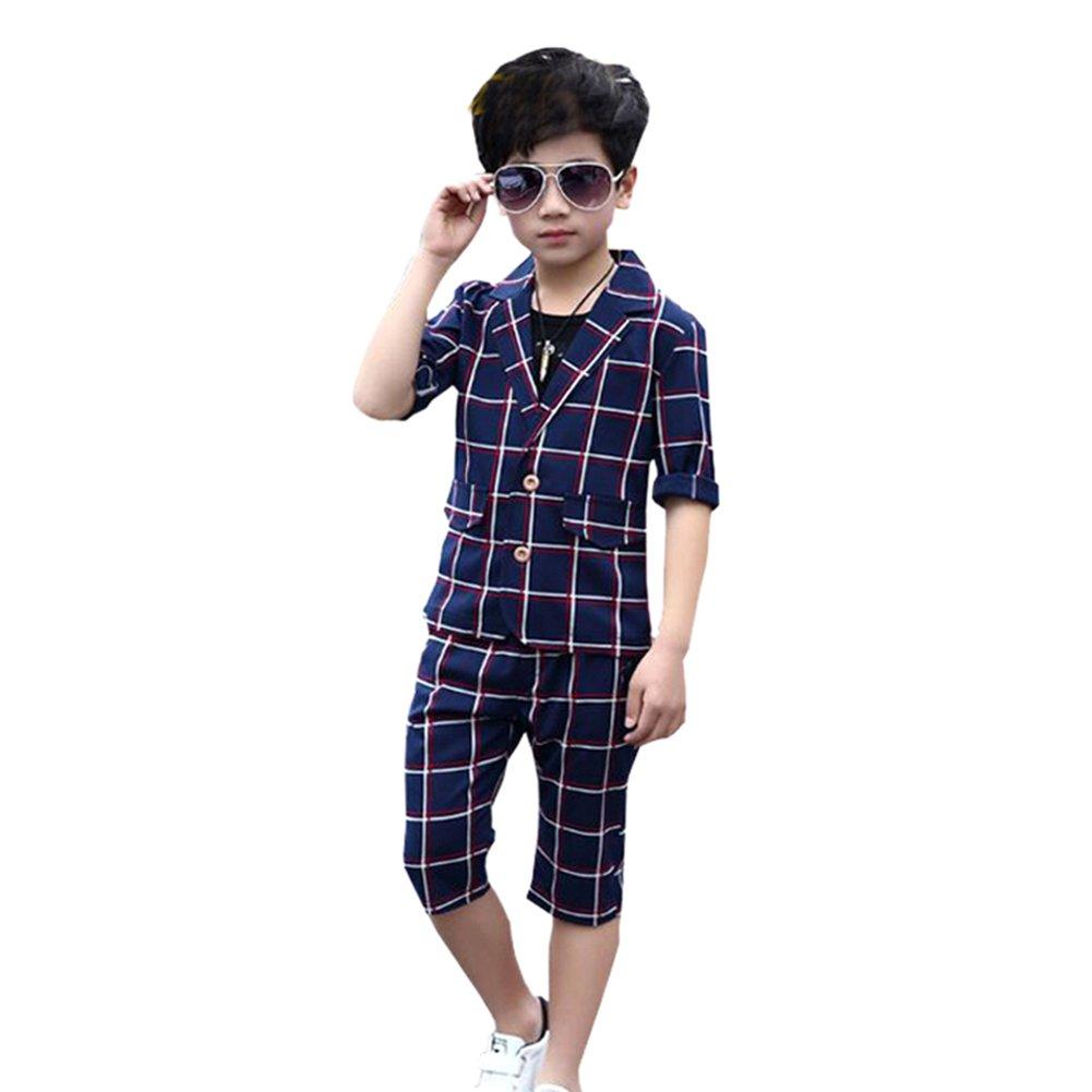Uwback Boys Plaid Suits 3Pcs Short Sleeve Blazer T Shirt Shorts Navy CN 120
