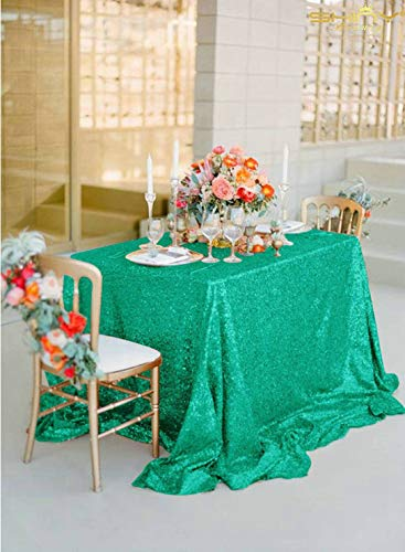 Sequin Tablecloth Rectangular 60x102-Inch Green, 5FT Table 60
