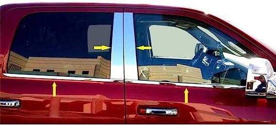 eLoveQ Stainless Steel Chrome Pillar Post+Window Sills FOR 2010-2017 Dodge Ram 1500 2500 3500 CrewCab Only Combo